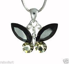 W Swarovski Crystal BUTTERFLY Black Wings Pendant Necklace Winx Gift