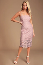BARDOT - Lina Blush Pink Lace Midi Dress Lulus ASOS Revolve - S NWT
