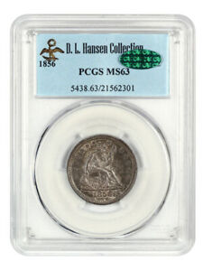 1856 25c PCGS/CAC MS63 - Liberty Seated Quarter - Wonderful Type Coin