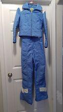 EUC Vintage SKYR Womens 2 Piece Set Blue & White Snow Suit Bibs & Jacket Sz S