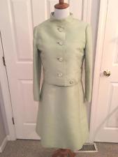 Vintage 60's Malcolm Starr Mint Green Silk Dress & Jacket w/ rhinestone buttons
