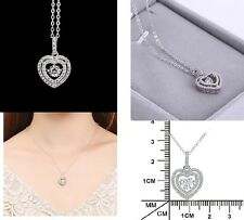 Sterling Silver Necklace Dancing Crystal Micro Cubic Zirconia Heart Pendant Gift