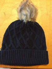$26.00 Black Steve Madden Faux Fur Cable Knit Cuff Hat BH223