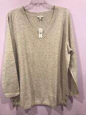 Talbots  Cotton Sweater 2X Xmas Christmas Gift V Neck Long Sleeve MSRP  $60