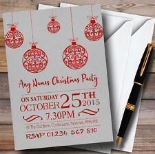 Christmas Rustic Baubles Personalised Christmas Party Invitations