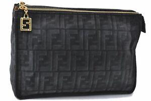Authentic FENDI Zucca Clutch Bag Pouch Nylon Leather Black C2006