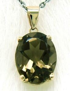 SYJEWELLERY NICE 9CT SOLID YELLOW GOLD OVAL CUT NATURAL SMOKY TOPAZ PENDANT P906