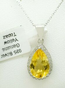 GENUINE 7.08 Cts YELLOW TOPAZ  PENDANT NECKLACE .925 SILVER ** New With Tag **