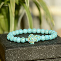 8mm Natural Stone Turquoise Beaded Turtle Charm Women Men Bracelets Lucky Gifts