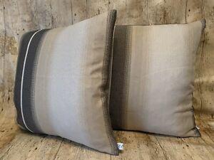 45cm Beige Cream And Black Gradient Linen Handmade Cushion Cover