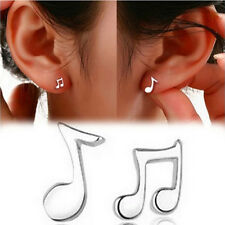 1x Cute Tiny Women silver plated Musical Note Ear Stud Earrings Gift Funny PTCA