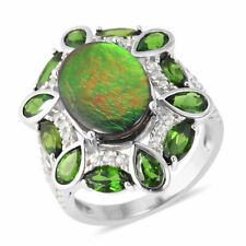Canadian AMMOLITE , Russian DIOPSIDE , ZIRCON RING in Plat / Sterling 3.56 Cts.