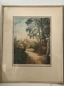 """VINTAGE PARIS ETCHING SOCIETY FRAMED PRINT SIGNED BY PIERRE 14x12"""""""