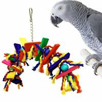 Parrot Bird Toys Colored Wooden Bite Climb Chewing Toy Hanging Swing Cage Decor