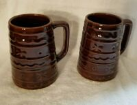 Vintage 2  Marcrest Dot & Daisy Mugs Tumblers Brown Pottery Stoneware