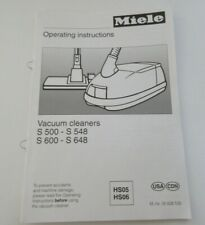 Miele S500-S548 S600-S648 Vacuum Cleaner Operating Instructions Booklet NEW
