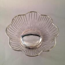 "Silver Plated Wire Bread Basket Flower Shape 9 5/8"" Centerpiece"