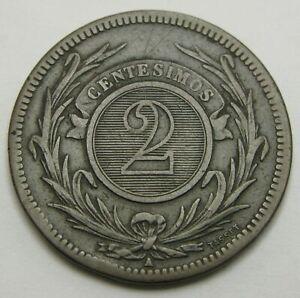 URUGUAY 2 Centesimos 1869 A - Bronze - F/VF - 1477