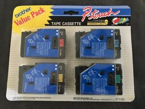 """Brother P-Touch Value Pack TC-5001/6001/7001/8001 12mm 1/2"""" OEM-NIB"""