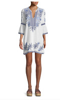❤️ 3J Workshop LILA JO Flare Sleeve JOHNNY WAS Embroidered Tunic Dress M $258 ❤️