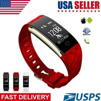 Waterproof Bluetooth Smart Watch Phone Mate For Android IOS iPhone Samsung Red
