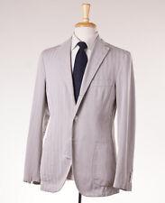 NWT $2695 BELVEST Stone Gray Herringbone Lightweight Cotton-Silk Suit 42 R