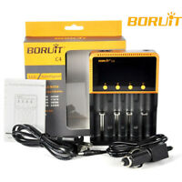 BORUiT Intelligent 4-Slot Smart Battery Charger for 18650 26650 Ni-MH/Li-ion AAA