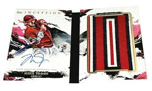 MIKE TROUT 2021 TOPPS INCEPTION BASEBALL AUTO JERSEY PATCH BOOKLET CARD RARE /2