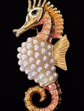 PEACH YELLOW GOLD PEARL OCEAN SEA LIFE SEA HORSE SEAHORSE PIN BROOCH JEWELRY 2""