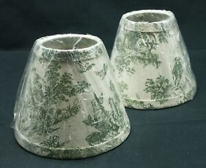 Green Toile du Jouy Lamp Shades Clip On 5 x 6 Inches Set of 2