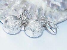 Hand made 925 Sterling Silver Lever Back Dangle Ball Pentagram Stardust Earrings