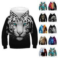 Kids Boys Girl Wolf Lion Printed Hoodie Pullover Sweatshirt Jumper Hooded Coat