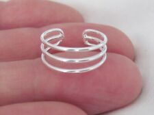 925 Silver 10k white gold over triple 3 band adjustable toe ring
