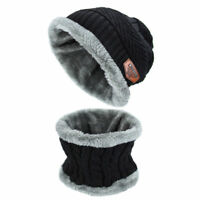 Men's Winter Beanie Hat Scarf Set Warm Knitted Skull Cap with Scarf Unisex Black