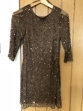 **BNWT BROWN SEQUIN BEADS EMBELLISHED SPECIAL OCCASION PARTY PROM DRESS  RRP £60