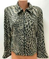 JOSEPH RIBKOFF size UK 16 Black Beige Animal Printed Jacket Cardigan Zip