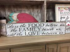 Bless the food before us wood sign. Handmade rustic wooden home decor.