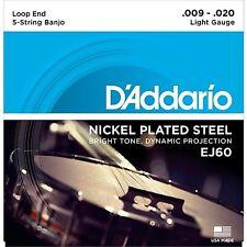 D'addario EJ60 5-String Banjo Strings Nickel 9-23