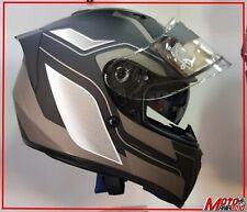 CASCO MOTO NAKED INTEGRALE SLINE S441 STRADA NERO / BIANCO /TITAN DOPPIA VISIERA