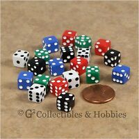 NEW 20 Multicolor Mini Tiny 8mm 6 Sided Gaming Dice Set - 5 Colors 5/16 inch D6