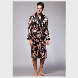 Men's Premium Satin Robe Shawl Collar Kimono Dragon Print Sleepwear Bathrobe