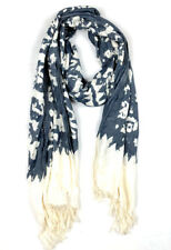 Lucky Brand 100% Cotton Fringe Black Ivory Printed Boho Long Scarf Wrap d5p
