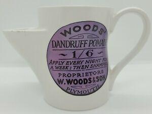 """Antique Victorian """"Wood's Dandruff Pomade"""" Advertising Porcelain Shaving Mug"""