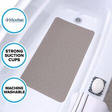 Large Tan Rubber Bath Safety Mat: In-Tub Mildew Resistant Suction Cup Mat