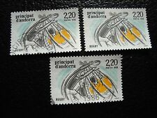 ANDORRE (francais) - timbre yvert et tellier n° 368 x3 obl (A30) stamp andorra