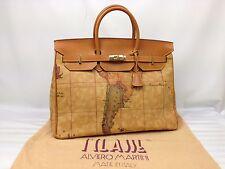 Auth ALVIERO MARTINI PRIMA CLASSE GEO MAP PVC Large Hand Bag 7C070220m