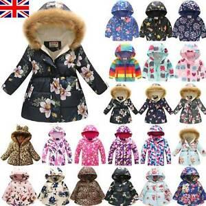 UK Kids Girls Winter Warm Coat Hooded Jacket Padded Floral Down Overcoat Outdoor
