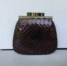 Vintage Noblesse Genuine Snakeskin Coin Purse Brown Made in Spain