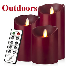 Flameless LED Candles with Timer Remote Set Of 3 Moving Wick Luminara Outdoor