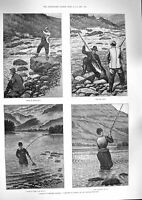 Original Old Antique Print 1888 Fishing Norway Angler River Fish Trout Kennard